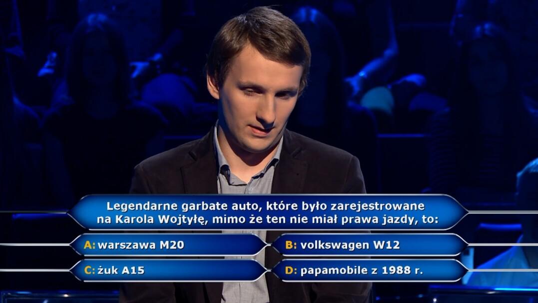"""Pytanie z """"Milionerów"""" o samochód Karola Wojtyły"""