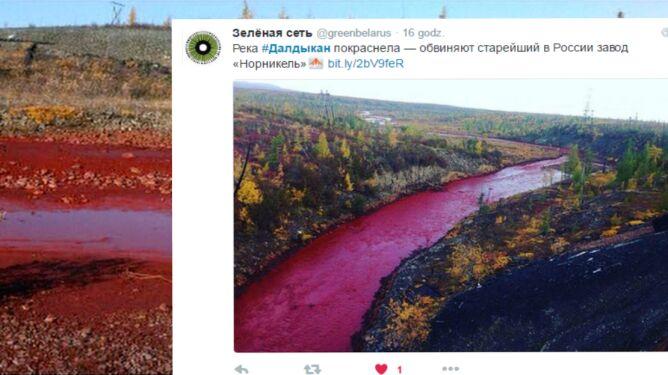 Syberyjska rzeka zmieniła kolor