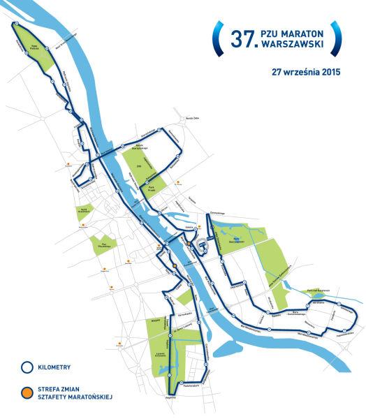Trasa Maratonu Warszawskiego planowanego na 27 września 25 roku