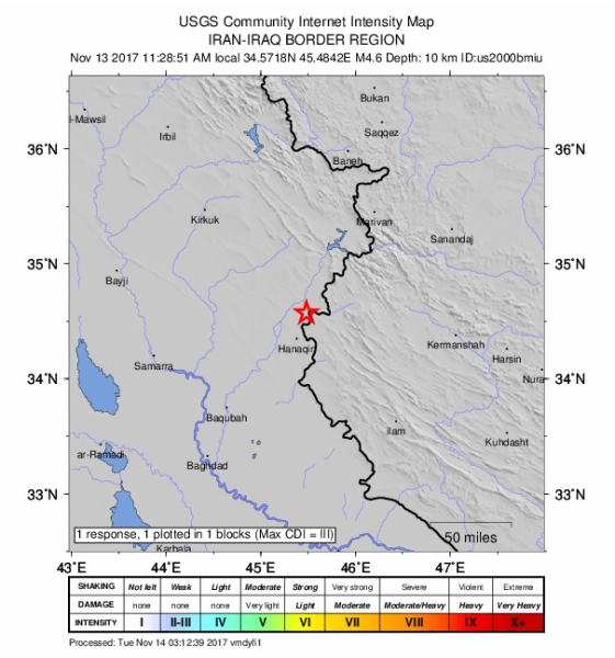 Siła trzęsienie ziemi na granicy Iranu i Iraku (USGS)