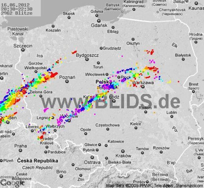 Burze nad Polską w godzinach 20.30-22.30