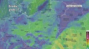 Prognozowane porywy wiatru w kolejnych pięciu dniach (Ventusky.com)